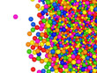 Many colored balls on white background
