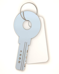 Silver Key with empty blank on white background