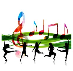 colorful music background with people silhouettes