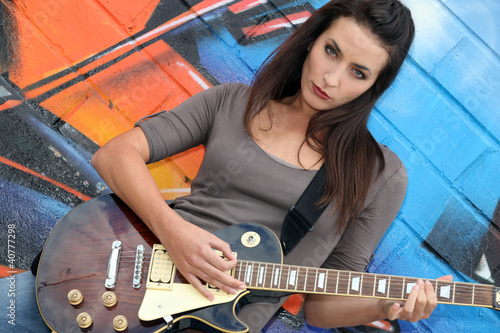 Musician with her guitar