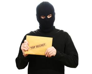 Bandit in black mask with top secret envelope