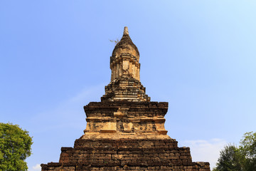 Top of pagodas in Temple. Sukhothai Historical Park, Thailand