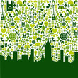 Green city eco icons background