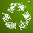 Green icons set in recycle symbol