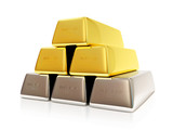 Pyramid from Golden and Silver Bars on white background