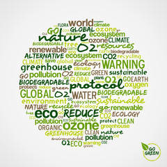 Go Green. Words cloud about environmental conservation in circle