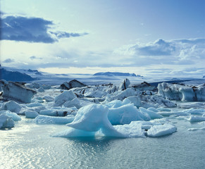 Glaciers floating on arctic water