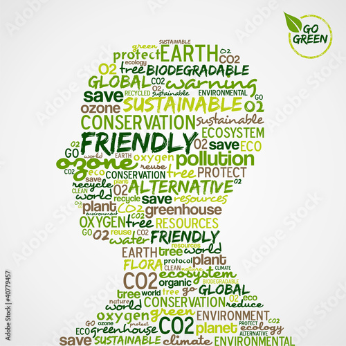 Go Green. Words cloud about environmental conservation in man he