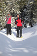 Couple snow-shoeing
