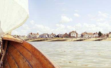 Boat overlooking suburban piers