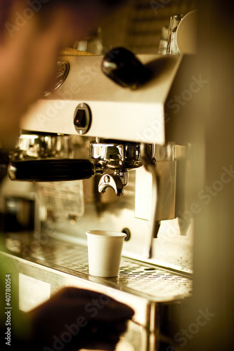 Coffee cup in espresso machine