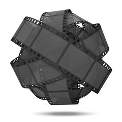 Abstract Sphere From Classic Film Strip on white background
