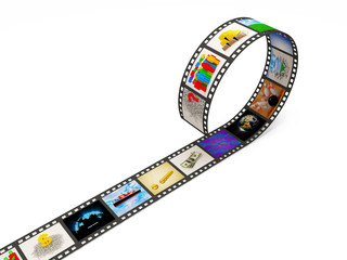 Film Strip with Images on white background