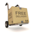 Hand truck with a box on white background