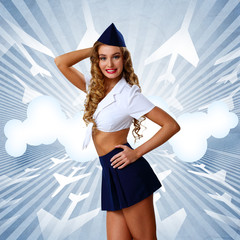 Woman retro style with stewardess cap