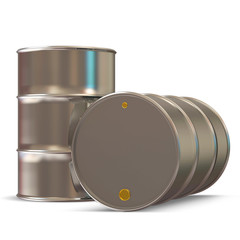 Metal Barrels on white background