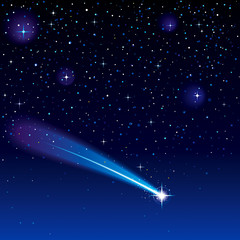 Shooting star going across a starry sky.