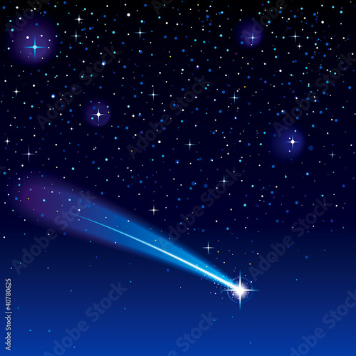 Shooting star going across a starry sky. - 40780625