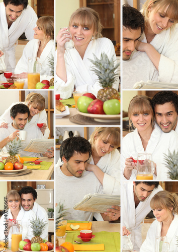 Mosaic of couple having breakfast together