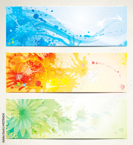 Set of watercolor style header banners.