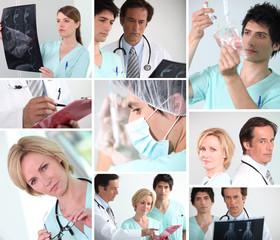 Mosaic of various hospital staff