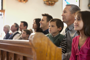 Congregation sitting in church
