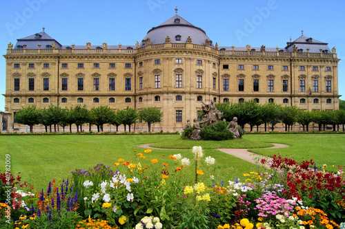 Wurzburg Residenz and colorful gardens, Germany