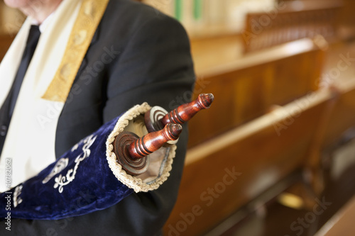 Close up of Torah scrolls