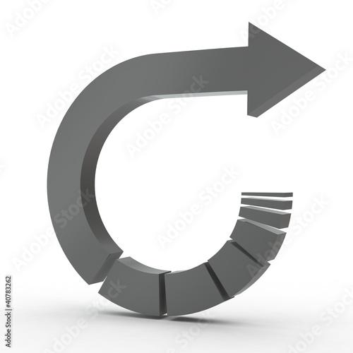 3d Icon Pfeil zurück schwarz