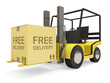 Industrial Forklift with Carton Box on white background