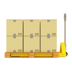 Pallet Truck with Carton Boxes isolated on white background