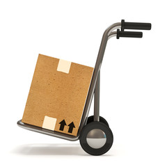 Hand truck with a box on white background (Delivery Concept)