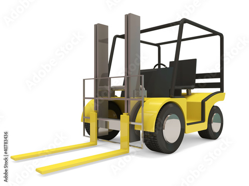 Industrial Forklift on white background