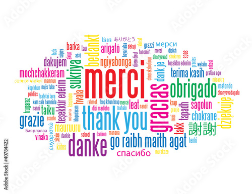 "Nuage de Tags ""MERCI"" (thank you message carte remerciements)"