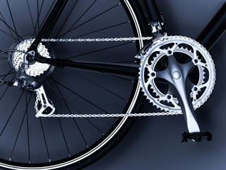 """Close up of bicycle chain, pedal and gears"""