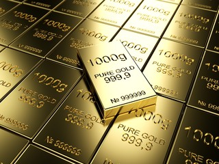 big number of gold bars