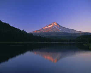 Forest and mountaintop reflected in still lake