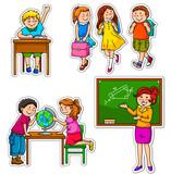 set of children and teacher at school