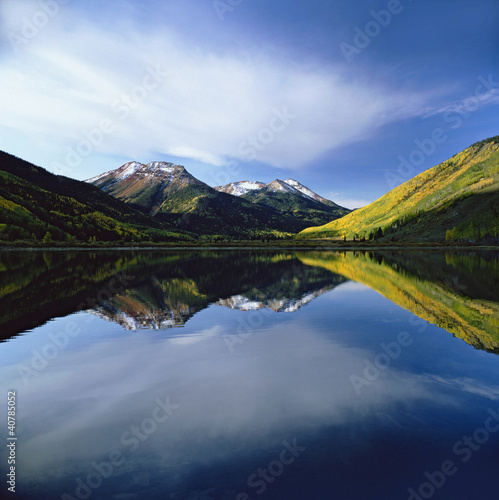 Mountains and sky reflected in still lake