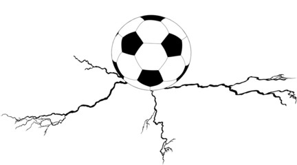 soccer ball on cleft illustration