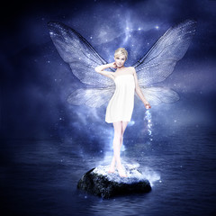 Magical young blond woman as fairy