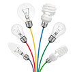 Ideas - Lightbulbs attached to colored cables