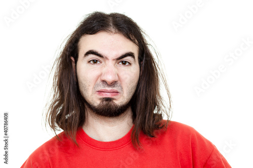 Disgusted Man with Red T-Shirt Isolated on White