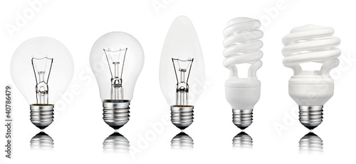 Five Lightbuls with Reflection Isolated on White