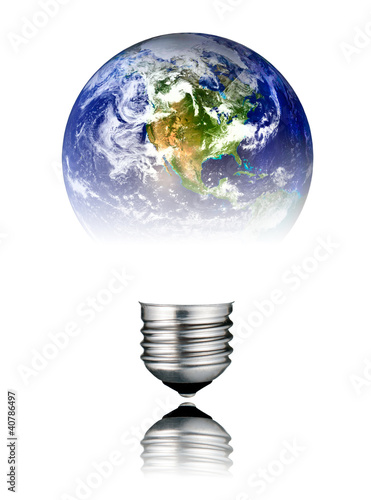 Lightbulb World Shape - America, USA