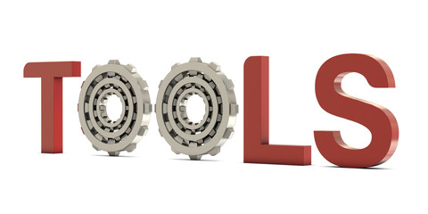 Tools text with gears