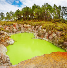 Devil's Bath volcanic crater, New Zealand