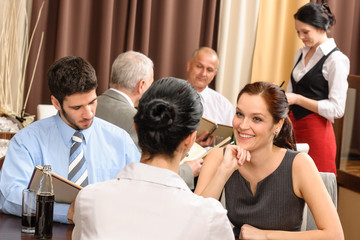 Business lunch executive women discuss restaurant