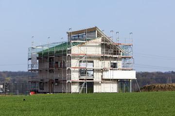 Baustelle modernes Einfamilienhaus