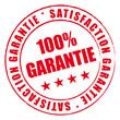 Satisfaction garantie à 100%. Tampon rouge.